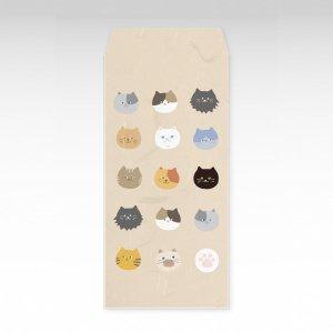 ニャーフェイス(猫)/お札用ぽち袋(大)3枚【和紙製】