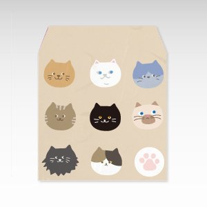 ニャーフェイス(猫)/コイン(硬貨)用ぽち袋(小)5枚【和紙製】