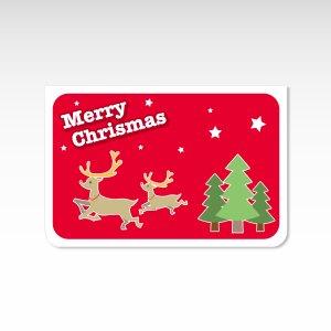 トナカイ 赤【クリスマスカード】(封筒付き)グリーティングカード