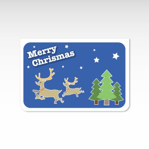 トナカイ 青【クリスマスカード】(封筒付き)グリーティングカード