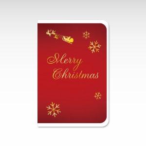 雪の結晶 赤【クリスマスカード】(封筒付き)グリーティングカード
