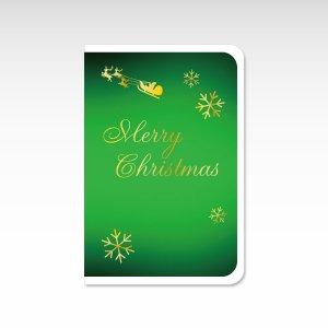 雪の結晶 緑【クリスマスカード】(封筒付き)グリーティングカード