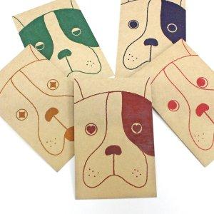 クラフト犬/お年玉袋(小)5枚【クラフト紙製】(2018年ポチ袋・ぽち袋)