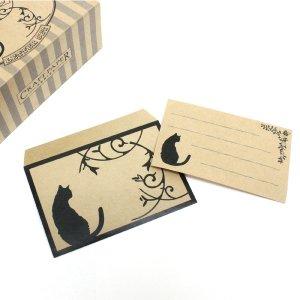 モノクロ猫/レターセット【Craft Paper Series】クラフトペーパーシリーズ