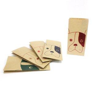【クラフト犬】紙袋(ペーパーバッグ・角底)/5種20枚入り【クラフト紙製】