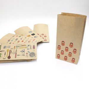 【まとりょーしか(マトリョーシカ)】紙袋(ペーパーバッグ・角底)/20枚入り【クラフト紙製】