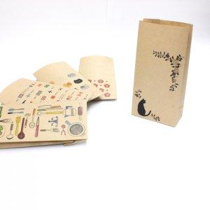【モノクロ猫】紙袋(ペーパーバッグ・角底)/20枚入り【クラフト紙製】