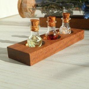 【アロマの小瓶】ディスプレイ用の木製スタンド3連