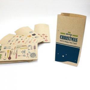 【クリスマス2】紙袋(ペーパーバッグ・角底)/15枚入り【クラフト紙製】