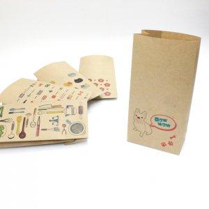 【フレンチブルドッグ・ピンク】紙袋(ペーパーバッグ・角底)/15枚入り【クラフト紙製】