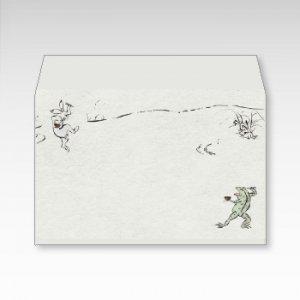 鳥獣食事戯画(鳥獣戯画)/お札用ぽち袋(中)5枚【横型ぷち封筒】