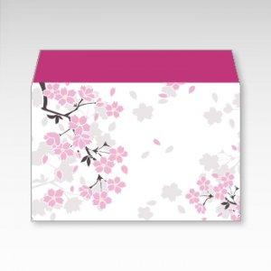 桜吹雪/お札用ぽち袋(中)5枚【横型ぷち封筒】