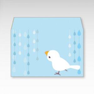 文鳥水滴/お札用ぽち袋(中)5枚【横型ぷち封筒】
