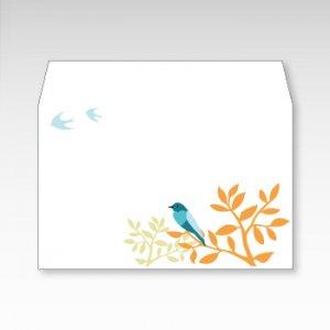 青い鳥/お札用ぽち袋(中)5枚【横型ぷち封筒】