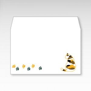 三毛猫(みけ猫)/お札用ぽち袋(中)5枚【横型ぷち封筒】
