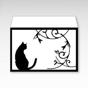 モノクロ猫/お札用ぽち袋(中)5枚【横型ぷち封筒】