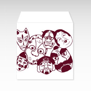 お面(能面・小面・狐面)/コイン(硬貨)用ぽち袋(小)5枚