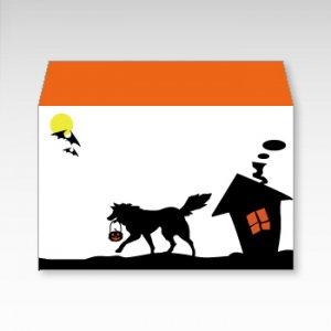 おでかけハロウィン(ハロウィーン)/お札用ぽち袋(中)5枚【横型ぷち封筒】