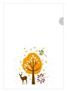 京 風物詩 鹿と木/ファイル(白) 1枚