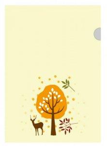 京 風物詩 鹿と木/ファイル(黄色) 1枚