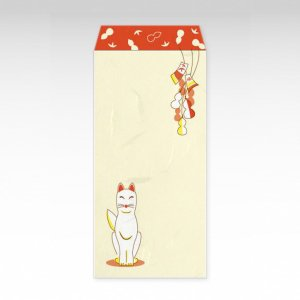 きつねとひょうたん(狐と瓢箪)/お札用ぽち袋(大)3枚【和紙製】