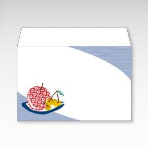 りんごとさくらんぼ(リンゴ・サクランボ・林檎)/お札用ぽち袋(中)5枚【横型ぷち封筒】