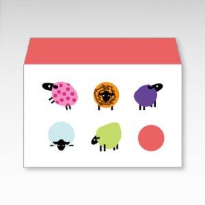 からふるひつじ(カラフル羊)/お札用ぽち袋(中)5枚【横型ぷち封筒】