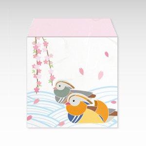 枝垂れ桜におしどり(しだれ桜にオシドリ)/コイン(硬貨)用ぽち袋(小)5枚【和紙製】