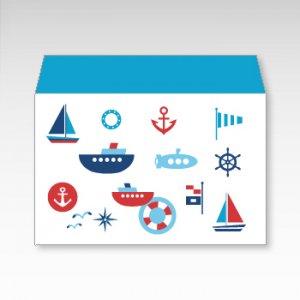 海の乗り物(船・潜水艦・ヨット)/お札用ぽち袋(中)5枚【横型ぷち封筒】
