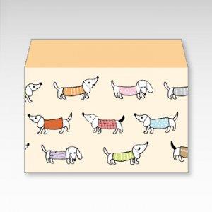 ダックスフンド(犬)/お札用ぽち袋(中)5枚【横型ぷち封筒】