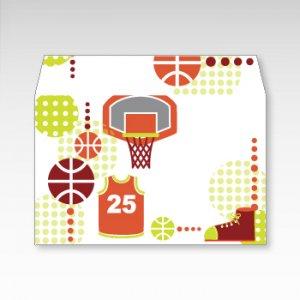 ダンク!バスケットボール/お札用ぽち袋(中)5枚【横型ぷち封筒】