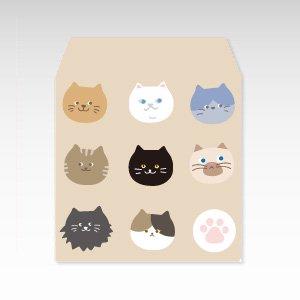 ニャーフェイス(猫)/コイン(硬貨)用ぽち袋(小)5枚