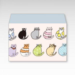 おしゃれキャット(猫)/お札用ぽち袋(中)5枚【横型ぷち封筒】