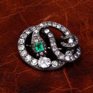 アンティーク ダイヤモンド エメラルド ルビー スネーク ブローチ