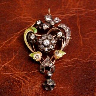 アンティーク ダイヤモンド エナメル 14K シルバー ブローチ/ペンダントヘッド