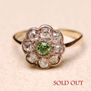 アンティーク デマントイドガーネット ダイヤモンド 18ct クラスター リング