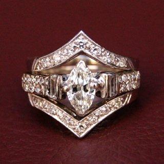 ヴィンテージ ダイヤモンド 14K ホワイトゴールド リング