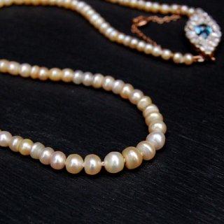 アンティーク パール ダイヤモンド アクアマリン ゴールド プラチナ ネックレス