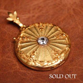 アンティーク ダイヤモンド ゴールド ロケット ペンダントヘッド