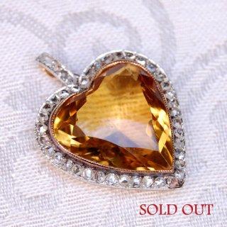 アンティーク シトリン ダイヤモンド 18Kゴールド プラチナ ハート ペンダントヘッド