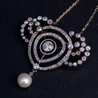 アンティーク ダイヤモンド パール プラチナ ゴールド ネックレス