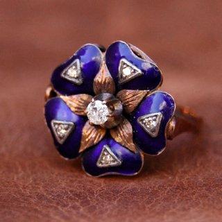 アンティーク ブルーエナメル ダイヤモンド 14K フラワー リング