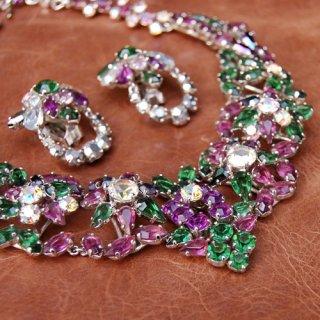 Christian Dior パープル グリーン オーロラ ネックレス/イヤリング