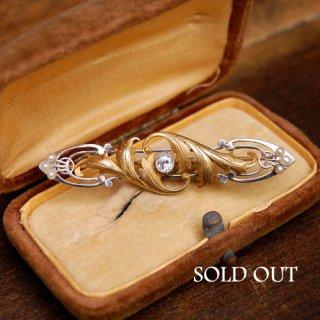 アンティーク ダイヤモンド パール ゴールド プラチナ ブローチ