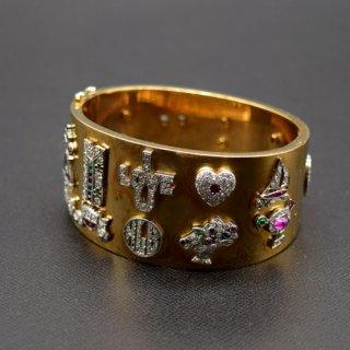 ヴィンテージ ダイヤモンド カラーストーン 14Kゴールド チャーム ブレスレット