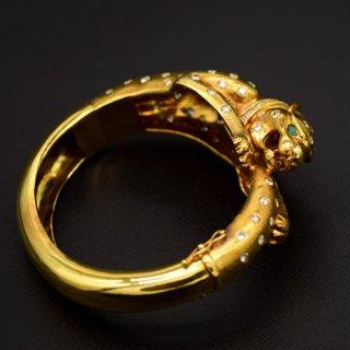 ヴィンテージ ダイヤモンド エメラルド K18ゴールド レオパード ブレスレット