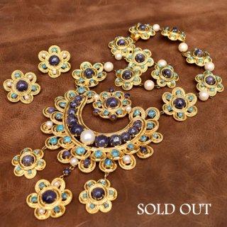 Christian Dior パープル ブルー パール フラワー ネックレス/イヤリング セット