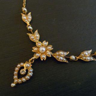 アンティーク シードパール ダイヤ ゴールド ネックレス