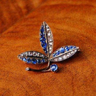 アンティーク ダイヤモンド サファイア 14K シルバー ブローチ