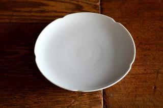 河合正光/白磁 輪花小皿